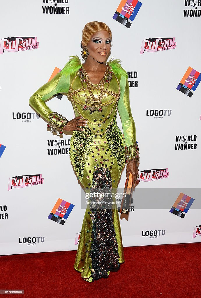Drag queen Coco Montrese arrives at 'Rupaul's Drag Race' Season 5 Finale, Reunion & Coronation Taping on May 1, 2013 in North Hollywood, California.