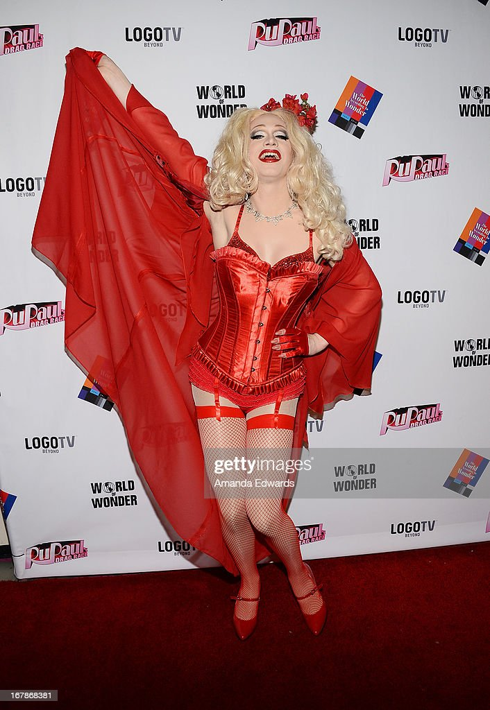 Drag queen Jinkx Monsoon arrives at 'Rupaul's Drag Race' Season 5 Finale, Reunion & Coronation Taping on May 1, 2013 in North Hollywood, California.