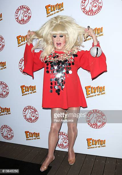 Drag Queen Lady Bunny attends Cassandra Peterson's launch party for her new book 'Elvira Mistress Of The Dark' at The Hollywood Roosevelt Hotel on...