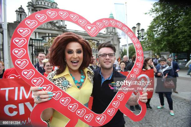 Drag Queen Lady Portia Diamante and Lee Cullen join campaigners from the Love Equality Coalition as they announce a march for Equal Marriage outside...