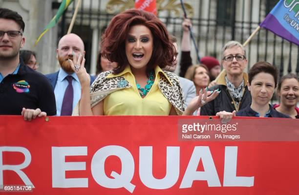 Drag Queen Lady Portia Diamante joins campaigners from the Love Equality Coalition as they announce a march for Equal Marriage outside City Hall in...