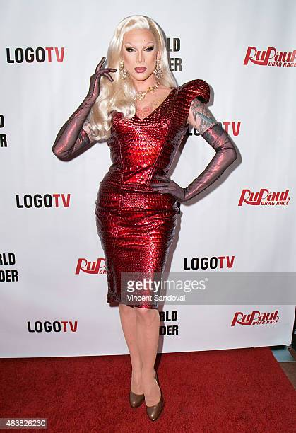 Drag queen Miss Fame attends 'RuPaul's Drag Race' season 7 at The Mayan on February 18 2015 in Los Angeles California