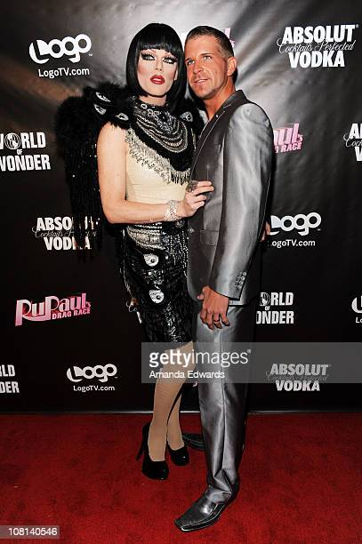 Drag queen Morgan McMichaels and Dylan Jewel arrive at the premiere of 'RuPaul's Drag Race' Season 3 at Rage on January 18 2011 in West Hollywood...