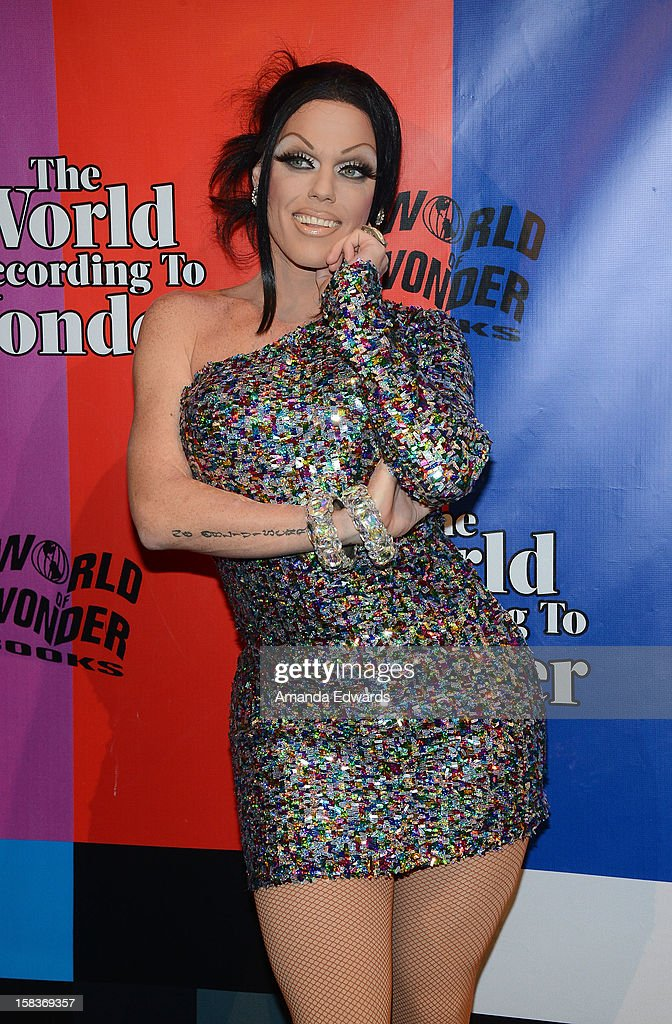 Drag queen Morgan McMichaels arrives at the World Of Wonder book release party/birthday bash at The Globe Theatre at Universal Studios on December 13, 2012 in Universal City, California.