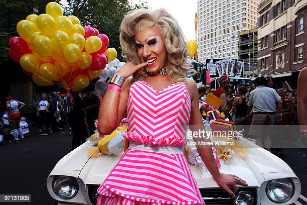 Drag Queen Ms Summer Salt poses prior to the start of the annual Sydney Gay and Lesbian Mardi Gras Parade on Oxford Street on February 27 2010 in...