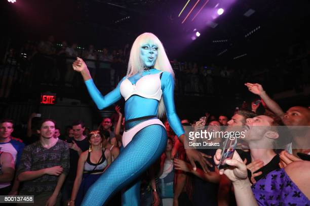 Drag queen Nina Bonina Brown former contestant of RuPaul's Drag Race reality TV show performs at the Public Arts New York Gay Pride Launch Party...