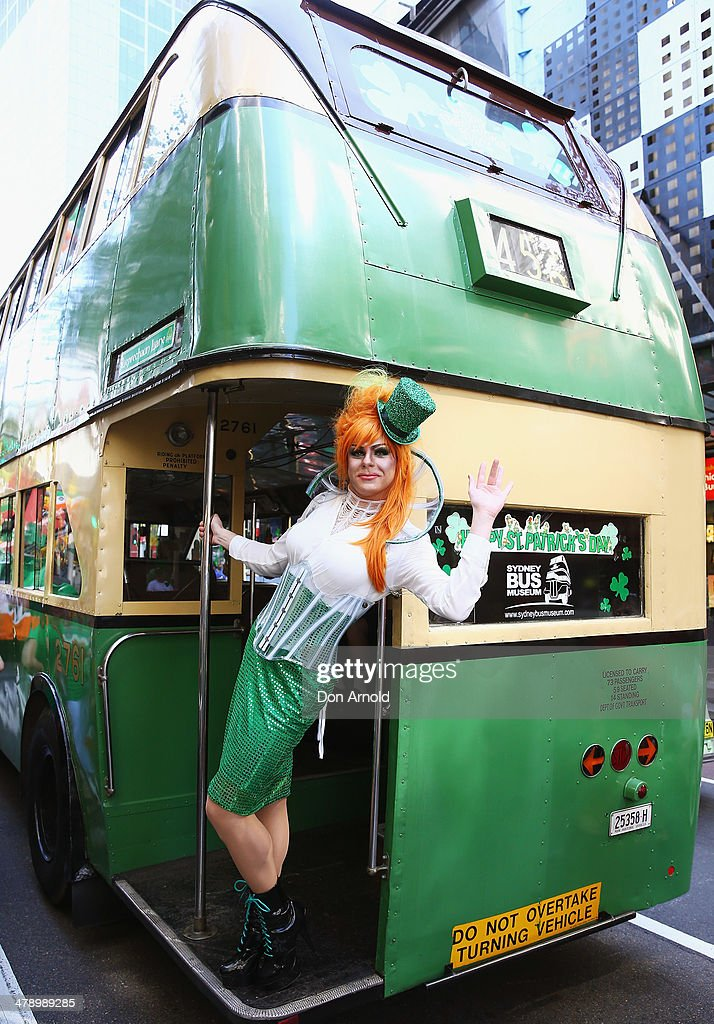 Drag Queen Peachy Queen poses from the back of a bus, and prepares to march in the St Patrick's day parade on behalf of all gay, lesbian, bisexual and transgender people for the first time on March 16, 2014 in Sydney, Australia. St Patricks Day is an annual religious and cultural commemoration of the widely recognised patron saint of Ireland, Saint Patrick. March 17th, is a public holiday in Northern Ireland and the Republic of Ireland but is celebrated in many countries around the world where Irish diaspora have settled.