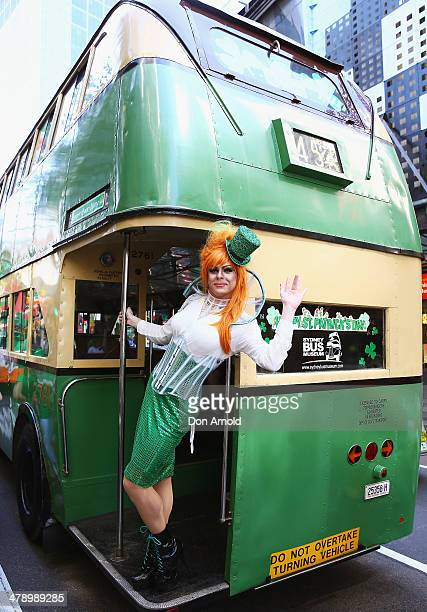 Drag Queen Peachy Queen poses from the back of a bus and prepares to march in the St Patrick's day parade on behalf of all gay lesbian bisexual and...