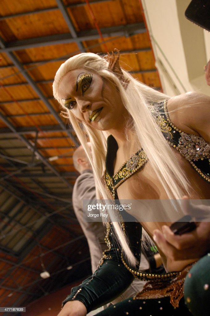 A drag queen prepares to go onstage at the Drag Queen Gala at Las Palmas Carnival 2014 on March 7, 2014 in Las Palmas de Gran Canaria, Spain. Las Palmas Carnival in the Canary Islands, which lasts 20 days, attracts thousands of tourists from around the world.