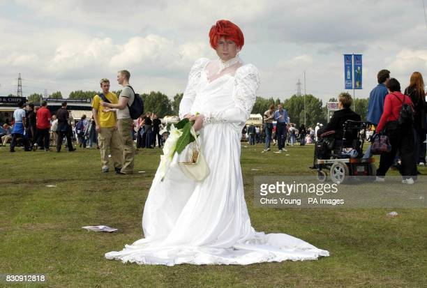 Drag Queen 'Quennie Delicious' from Bradford enjoying Mardi Gras at Hackney Marshes London The festival marks the 30th anniversary of the first gay...