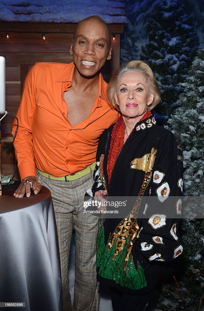 Drag queen <a gi-track='captionPersonalityLinkClicked' href=/galleries/search?phrase=RuPaul&family=editorial&specificpeople=963117 ng-click='$event.stopPropagation()'>RuPaul</a> (L) and actress <a gi-track='captionPersonalityLinkClicked' href=/galleries/search?phrase=Tippi+Hedren&family=editorial&specificpeople=208696 ng-click='$event.stopPropagation()'>Tippi Hedren</a> attend the World Of Wonder book release party/birthday bash at The Globe Theatre at Universal Studios on December 13, 2012 in Universal City, California.