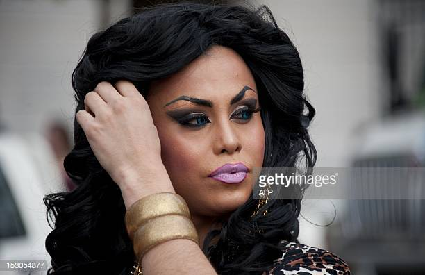 A Drag Queen takes part in a demonstration to demand the government a law for equal rights for the LGBT community in Santiago Chile on September 29...