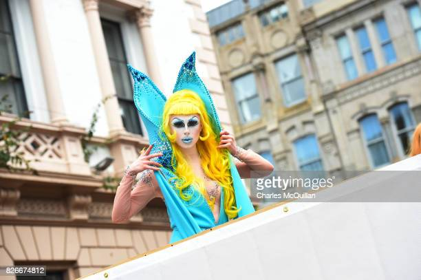 A drag queen takes part in Belfast Gay Pride on August 5 2017 in Belfast Northern Ireland The province is the only part of the United Kingdom which...
