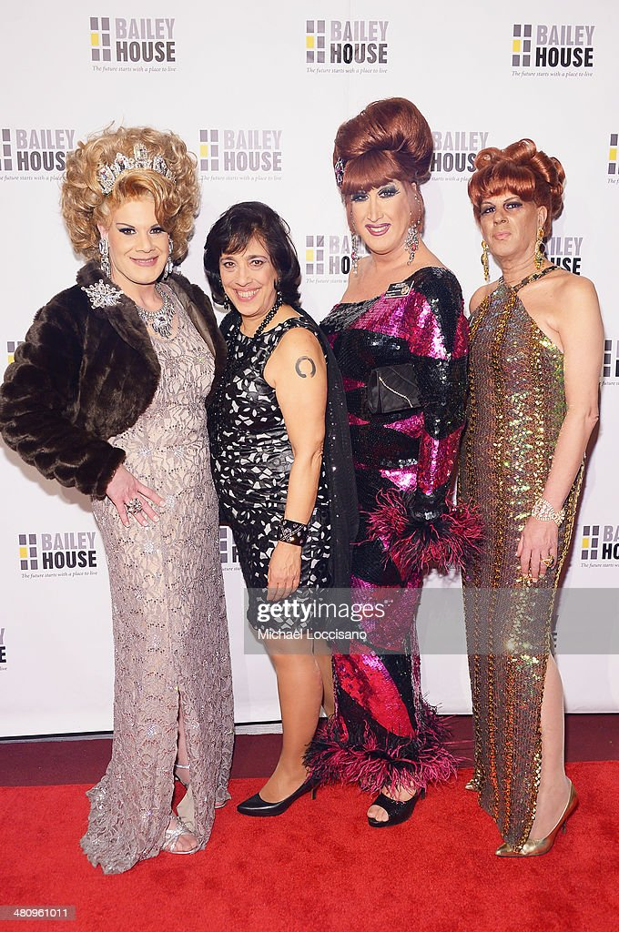 Drag Queen Twinkle Montgomery, Bailey House CEO Regina Quattrochi, and drag queens Ann Tique and B attend the Bailey House's 2014 Gala & Auction at Pier 60 on March 27, 2014 in New York City.
