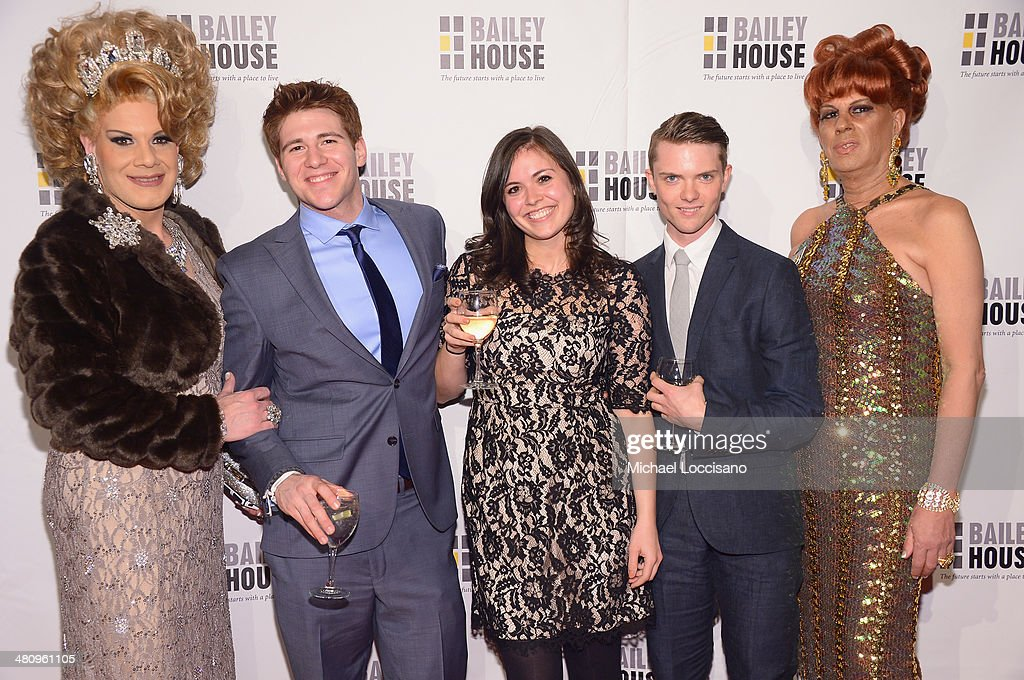 Drag Queen Twinkle Montgomery, Brian Marricco, Diana Forman, Mike Zipp, and drag queen B attend the Bailey House's 2014 Gala & Auction at Pier 60 on March 27, 2014 in New York City.