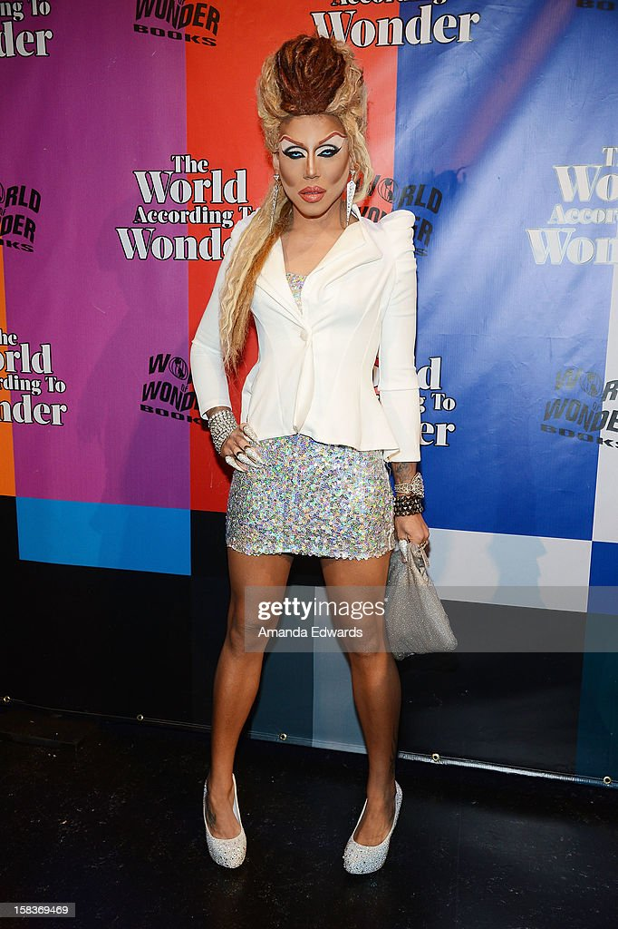 Drag queen Yara Sofia arrives at the World Of Wonder book release party/birthday bash at The Globe Theatre at Universal Studios on December 13, 2012 in Universal City, California.