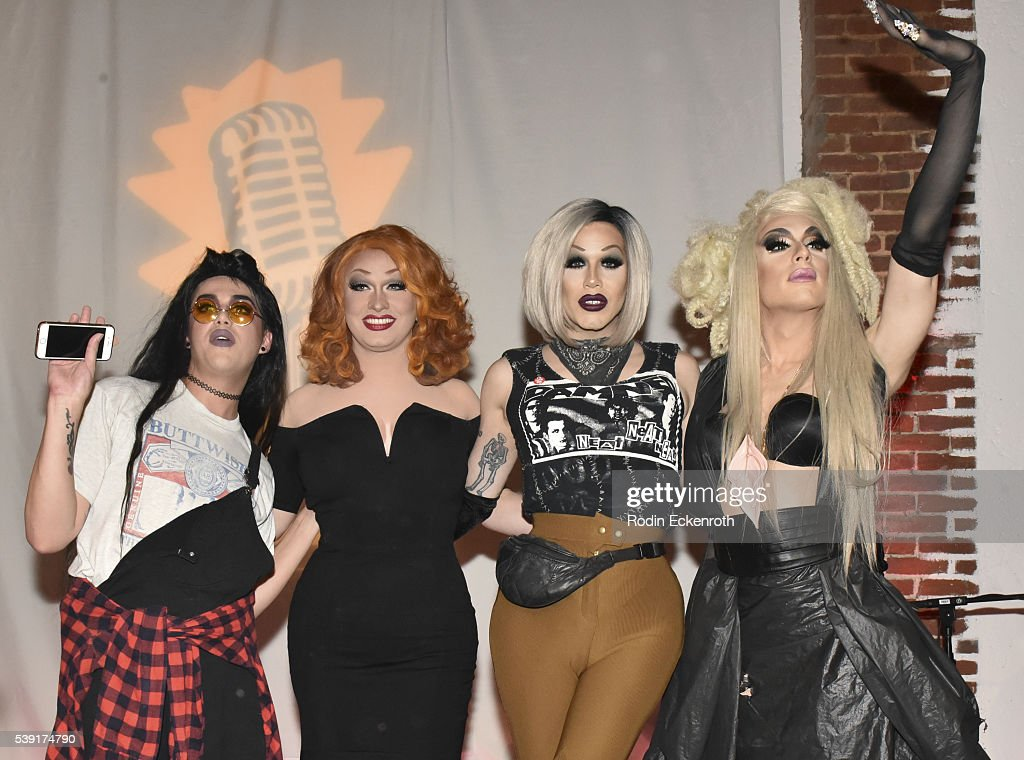 Drag queens Adore Delano, Jinks Monsoon, Sharon Needles, and Alaska attend the opening of