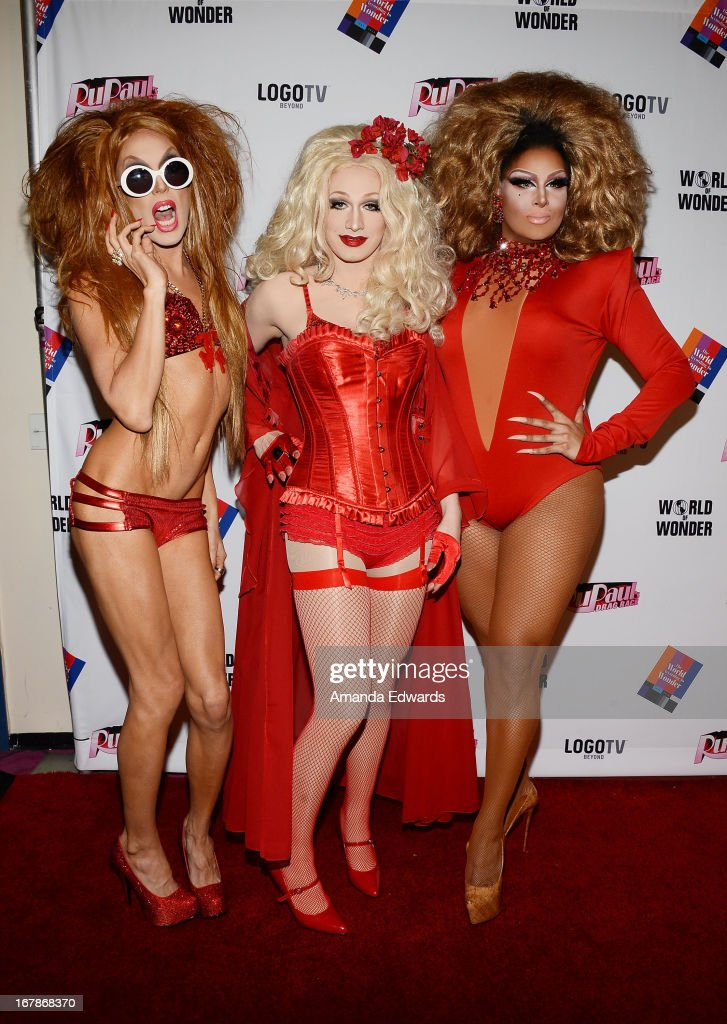 Drag queens Alaska, Jinkx Monsoon and Roxxxy Andrews arrive at 'Rupaul's Drag Race' Season 5 Finale, Reunion & Coronation Taping on May 1, 2013 in North Hollywood, California.
