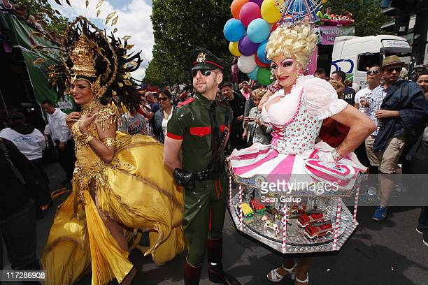 Drag queens and other people participate in the annual Christopher Street Day Parade on June 25 2011 in Berlin Germany The parade celebrates gays...