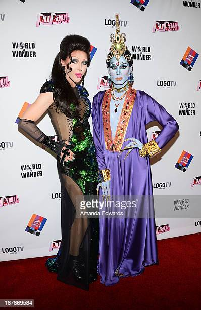 Drag queens Chad Michaels and Raja arrive at 'Rupaul's Drag Race' Season 5 Finale Reunion Coronation Taping on May 1 2013 in North Hollywood...