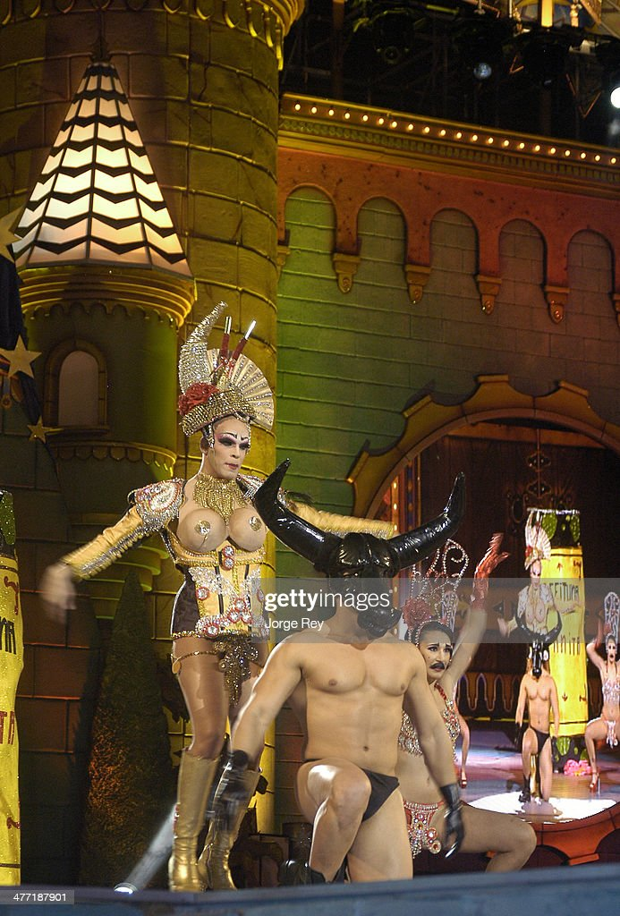 Drag queens onstage at the Drag Queen Gala at Las Palmas Carnival 2014 on March 7, 2014 in Las Palmas de Gran Canaria, Spain. Las Palmas Carnival in the Canary Islands, which lasts 20 days, attracts thousands of tourists from around the world.
