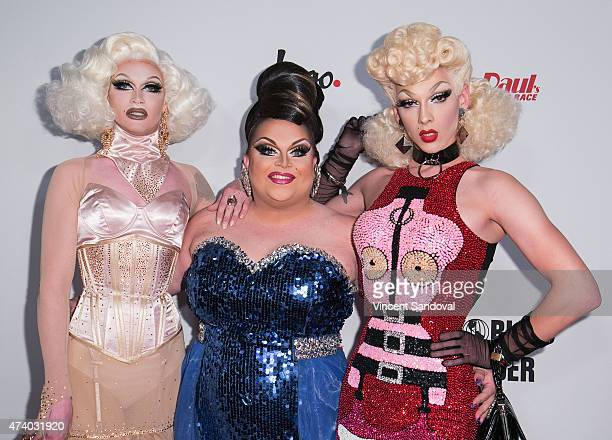 Drag queens Pearl Liaison Ginger Minj and Violet Chachki attend Logo TV's 'RuPaul's Drag Race' season finale event at Orpheum Theatre on May 19 2015...