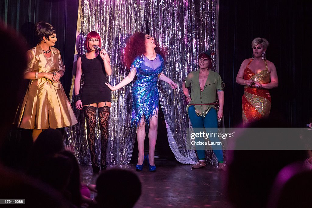 Drag queens Raven, Morgan McMichaels, Detox Icunt, drag king Landon Cider and Shannel perform at a drag show with the cast of 'RuPaul's Drag Race' at Micky's on August 12, 2013 in Los Angeles, California.