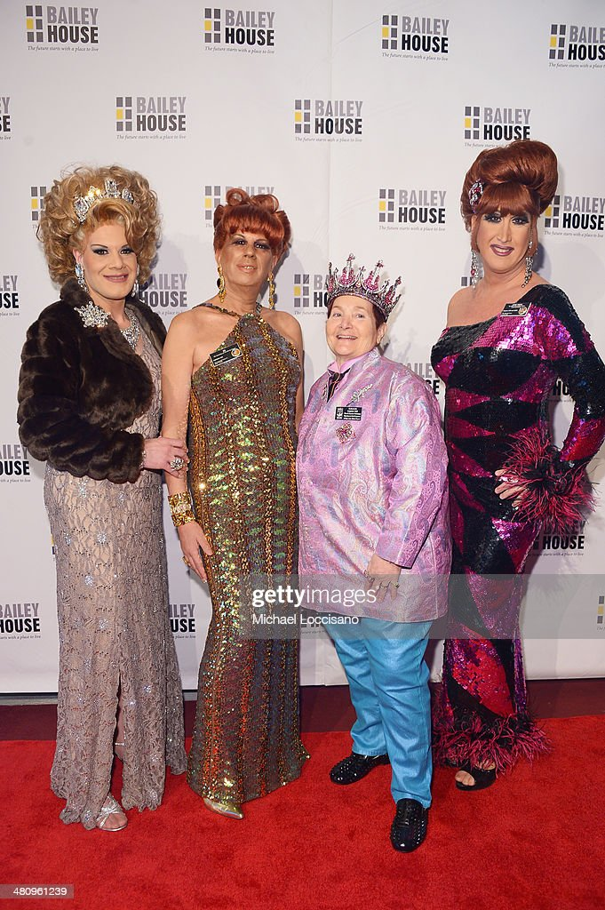 Drag Queens Twinkle Montgomery and B, empress Wendy, and drag queen Ann Tique attend the Bailey House's 2014 Gala & Auction at Pier 60 on March 27, 2014 in New York City.