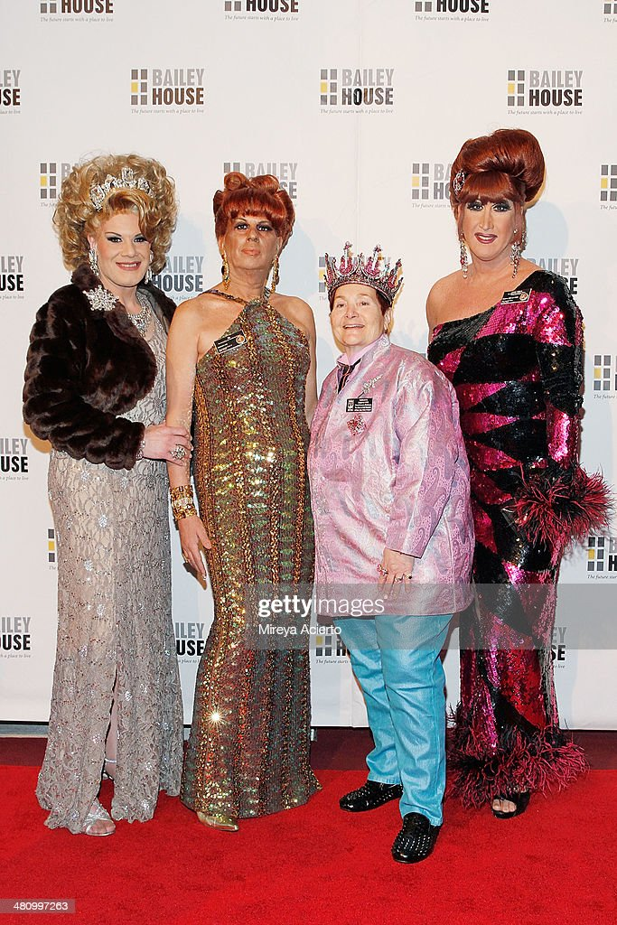 Drag queens Twinkle Montgomery and B, Empress Wendy, and drag queen Ann Tique attend Bailey House's 2014 Gala & Auction at Pier 60 on March 27, 2014 in New York City.