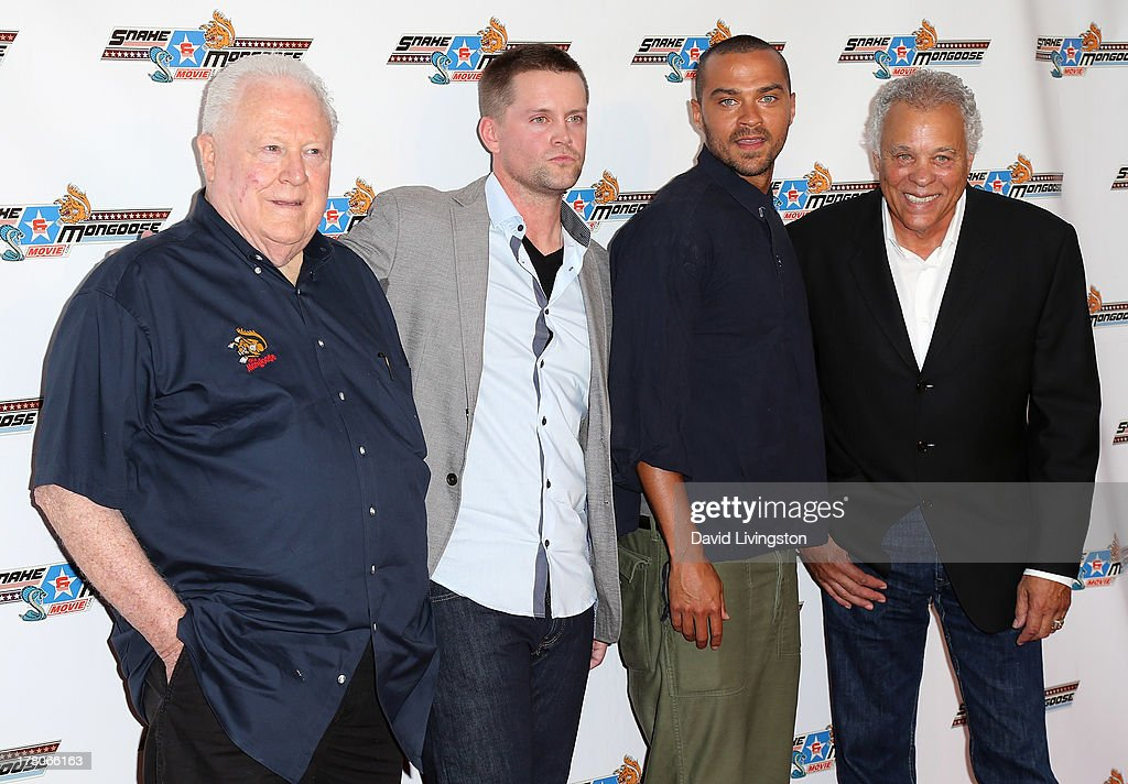 Drag racer Tom 'The Mongoose' McEwen, actors Richard Blake and <a gi-track='captionPersonalityLinkClicked' href=/galleries/search?phrase=Jesse+Williams+-+Actor&family=editorial&specificpeople=7189838 ng-click='$event.stopPropagation()'>Jesse Williams</a> and drag racer Don 'The Snake' Prudomme attend the premiere of 'Snake & Mongoo$e' at the Egyptian Theatre on August 26, 2013 in Hollywood, California.