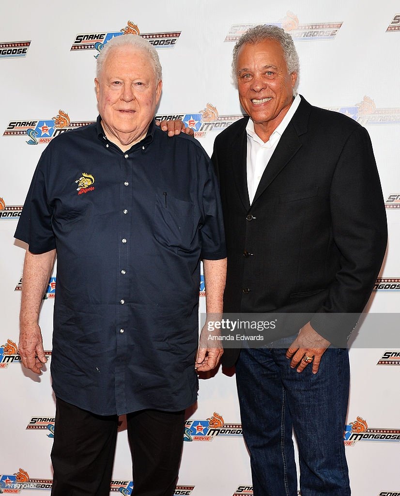 Drag racers Tom 'The Mongoo$e' McEwen (L) and Don 'The Snake' Prudhomme arrive at the premiere of 'Snake & Mongoo$e' at the Egyptian Theatre on August 26, 2013 in Hollywood, California.