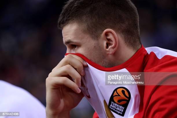 Dragan Apic #15 of Crvena Zvezda mts Belgrade react during the 2017/2018 Turkish Airlines EuroLeague Regular Season Round 8 game between Olympiacos...