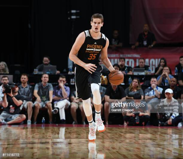 Dragan Bender of the Phoenix Suns brings the ball up court against the Dallas Mavericks during the 2017 Summer League on July 9 2017 at the Thomas...