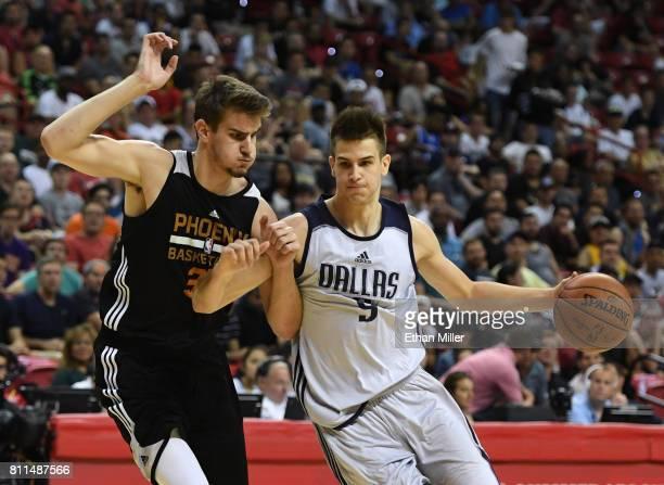 Dragan Bender of the Phoenix Suns guards Nicolas Brussino of the Dallas Mavericks during the 2017 Summer League at the Thomas Mack Center on July 9...