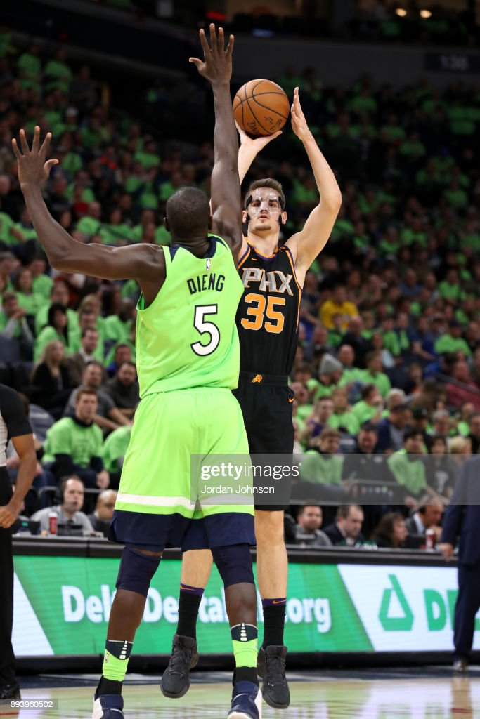 Dragan Bender #35 of the Phoenix Suns shoots the ball against the Minnesota Timberwolves on December 16, 2017 at Target Center in Minneapolis, Minnesota.
