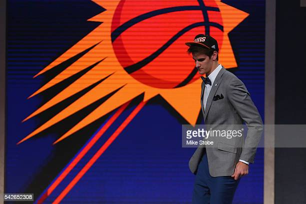 Dragan Bender walks off stage after being drafted fourth overall by the Phoenix Suns in the first round of the 2016 NBA Draft at the Barclays Center...