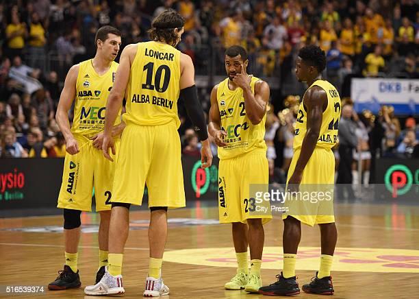 Dragan Milosavijevic Kresimir Loncar Jordan Taylor and Will Cherry of ALBA Berlin during Beko BBL game between Alba Berlin and EWE Baskets Oldenburg...