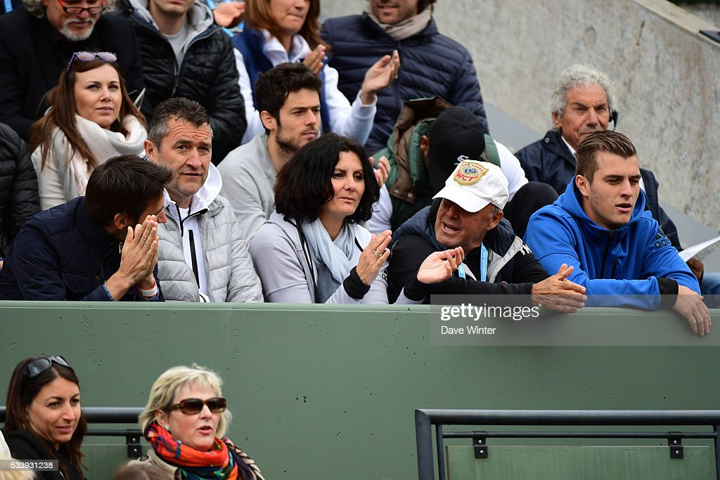 Dragan Mladenovic and Dzenita Mladenovic, parents of Kristina Mladenovic, during the Women's Singles first round on day three of the French Open 2016 at Roland Garros on May 24, 2016 in Paris, France.