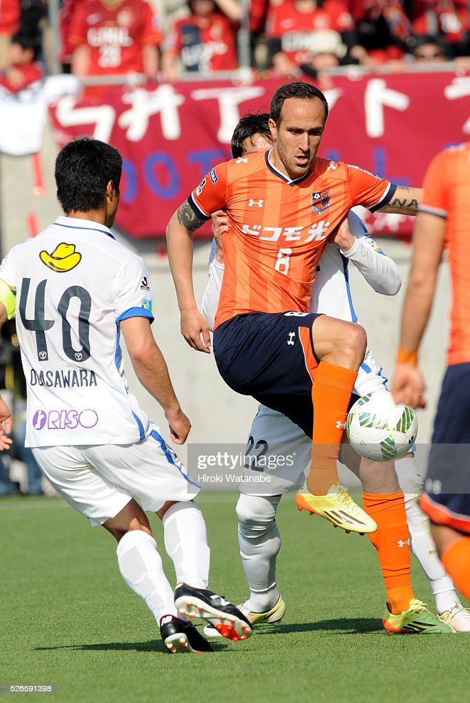 Dragan Mrdja of Omiya Ardija in action during the J.League match between Omiya Ardija and Kashima Antlers at Nack 5 Stadium Omiya on April 30, 2016 in Saitama, Japan.