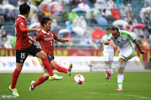 Dragan Mrdja of Shonan Bellmare shoots at goal during the JLeague J2 match between Nagoya Grampus and Shonan Bellmare at Paroma Mizuho Stadium on...