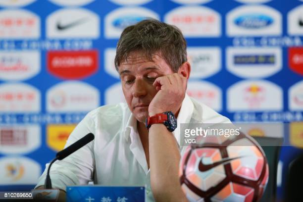 Dragan Stojkovic head coach of Guangzhou RF attends a press conference after the 16th round match of 2017 Chinese Football Association Super League...
