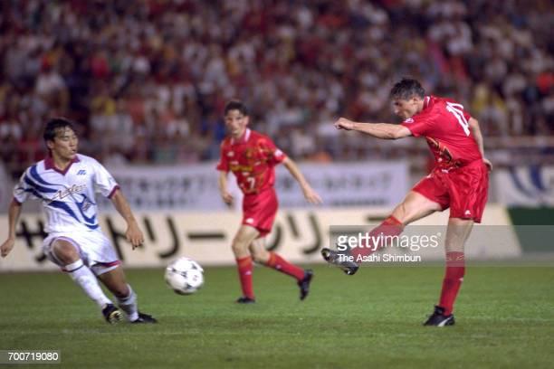 Dragan Stojkovic of Nagoya Grampus Eight scores the opening goal during the JLeague match between Nagoya Grampus Eight and Kashima Antlers at Mizuho...
