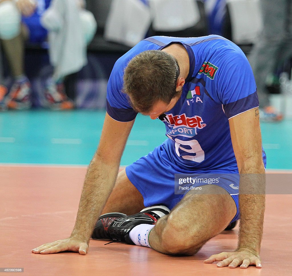 Dragan Travica of Italy shows his dejection during the FIVB World League Final Six semifinal match between Italy and Brazil at Mandela Forum on July 19, 2014 in Florence, Italy.