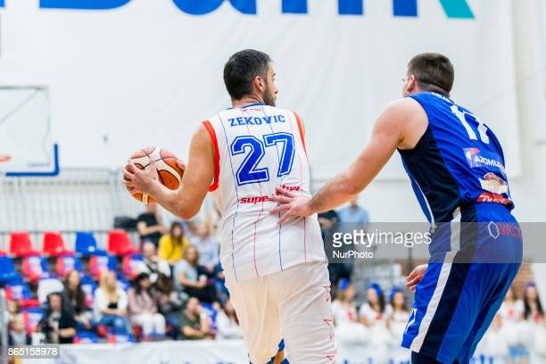 Dragan Zekovic and Milvoje Mijovic during the LNBM Men's National Basketball League game between CSM Steaua Bucharest and BC Mures TarguMures at Sala...