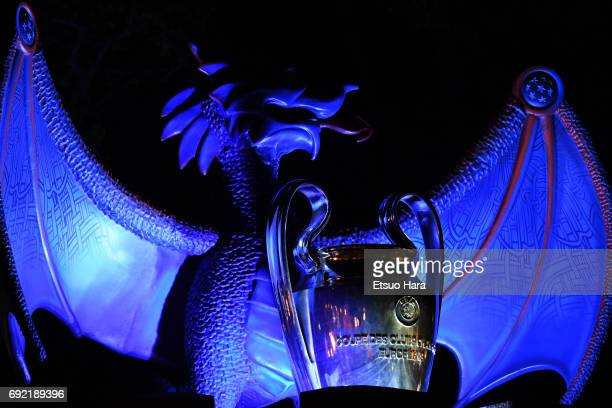 A dragon and the Champions League Trophy are seen at the Cardiff Castle ahead of the UEFA Champions League final between Juventus and Real Madrid on...