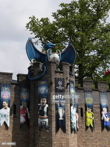 A dragon and the UEFA Champions League trophy on the walls of Cardiff Castle ahead of the Champions League Final between Juventus and Real Madrid on...