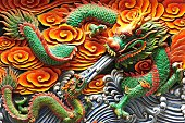 Colourful dragon statue at Yueh Hai Ching Temple