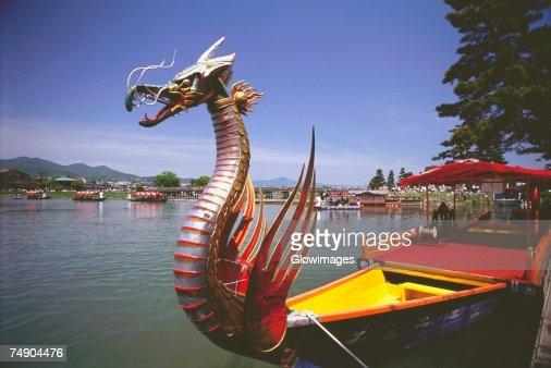 Dragon boat in a lake, Mifune Matsuri, Arashiyama, Kyoto Prefecture, Japan