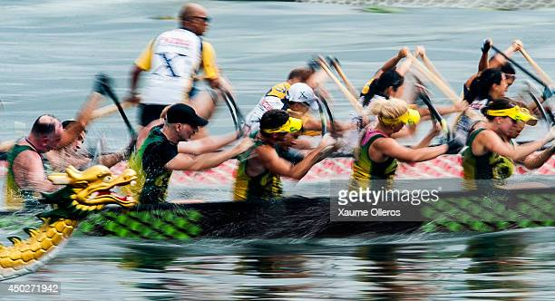Dragon boat racers race during Hong Kong International Dragon Boat Races on June 8 2014 in Hong Kong Hong Kong The dragon boat festival is also known...
