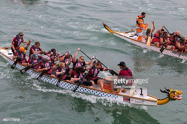Dragon Boat Racing in Viaduct Harbour as part of the Auckland Anniversary Day Regatta on January 26 2015 in Auckland New Zealand